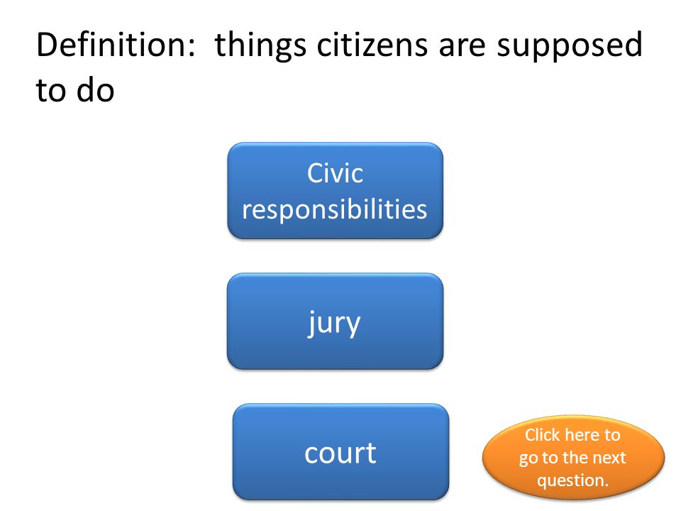 Definition: things citizens are supposed to do