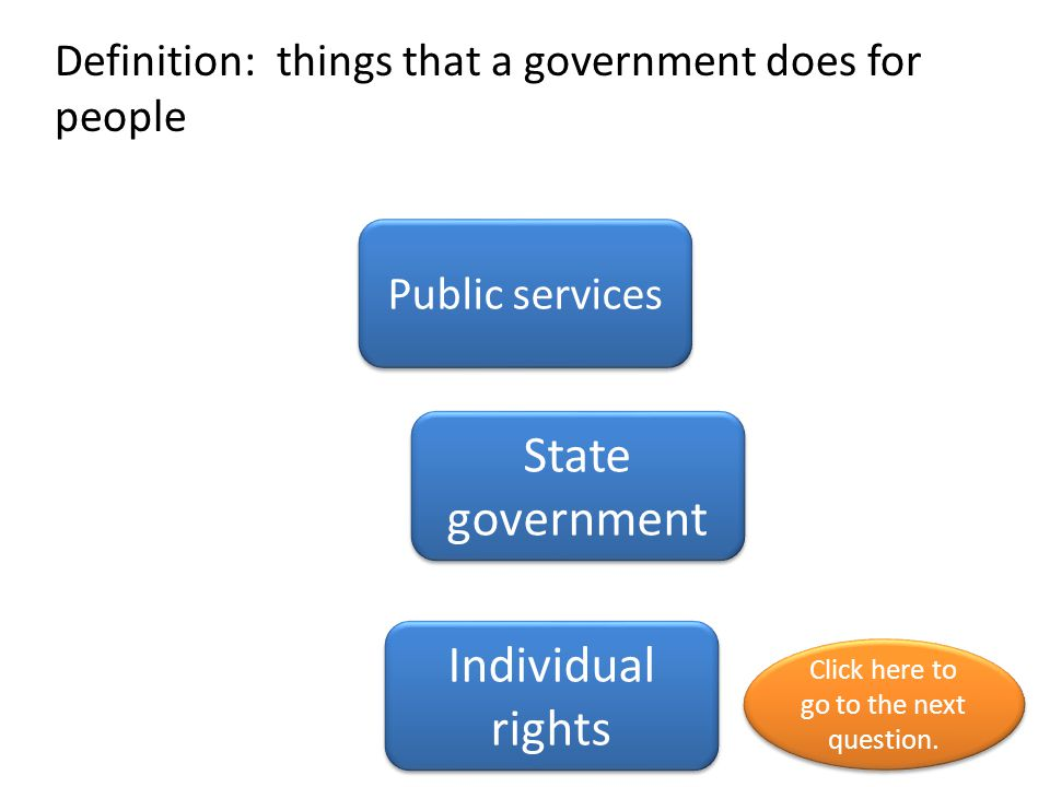 Definition: things that a government does for people
