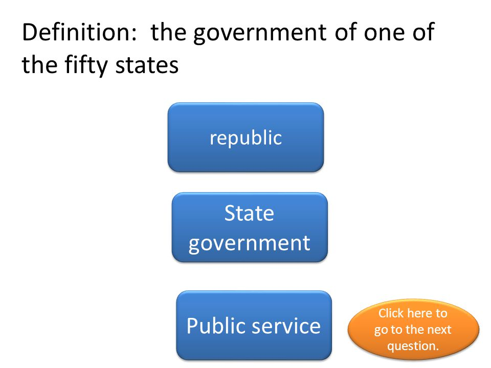 Definition: the government of one of the fifty states