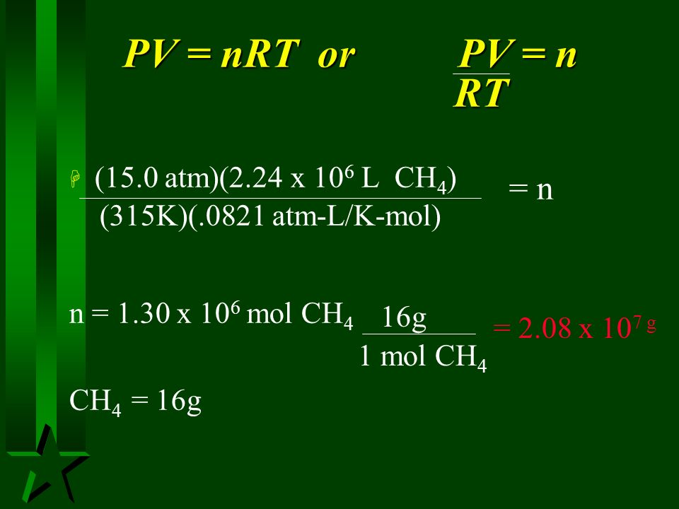 PV = nRT or PV = n RT (15.0 atm)(2.24 x 106 L CH4) = n