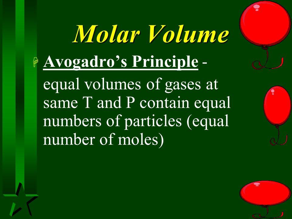 Molar Volume Avogadro's Principle -