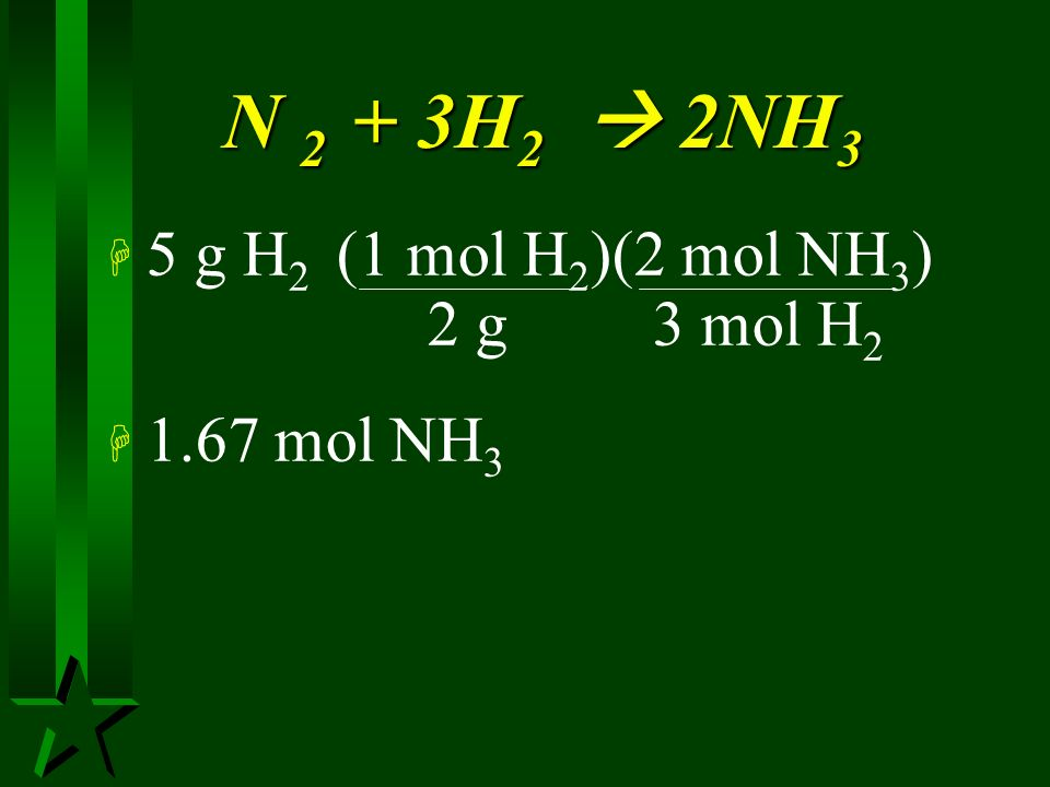 N 2 + 3H2  2NH3 5 g H2 (1 mol H2)(2 mol NH3) 2 g 3 mol H2