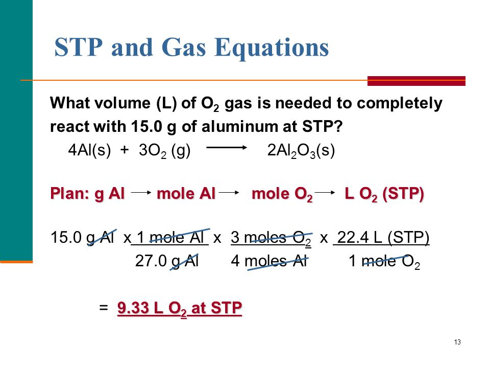 STP and Gas Equations What volume (L) of O2 gas is needed to completely. react with 15.0 g of aluminum at STP