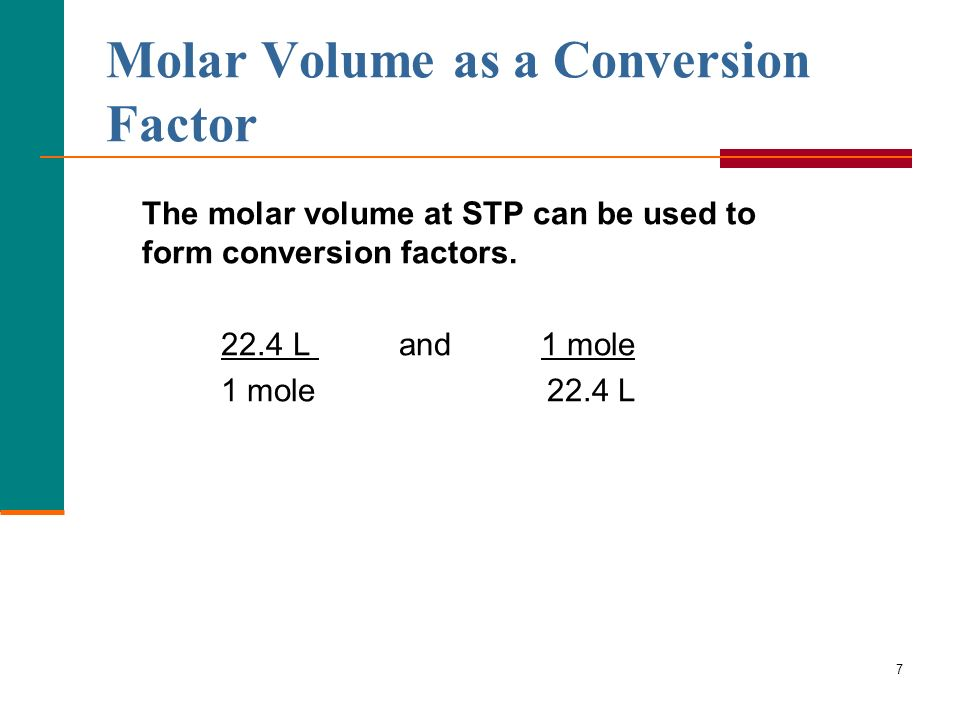 Molar Volume as a Conversion Factor