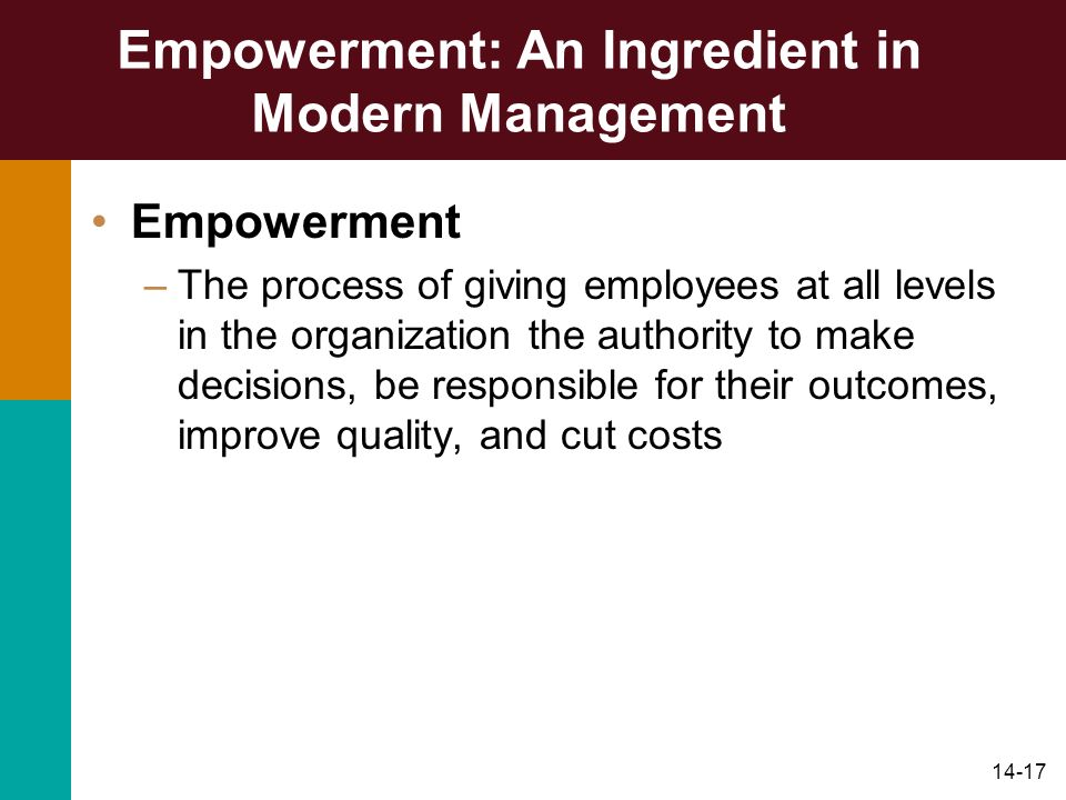 Empowerment: An Ingredient in Modern Management