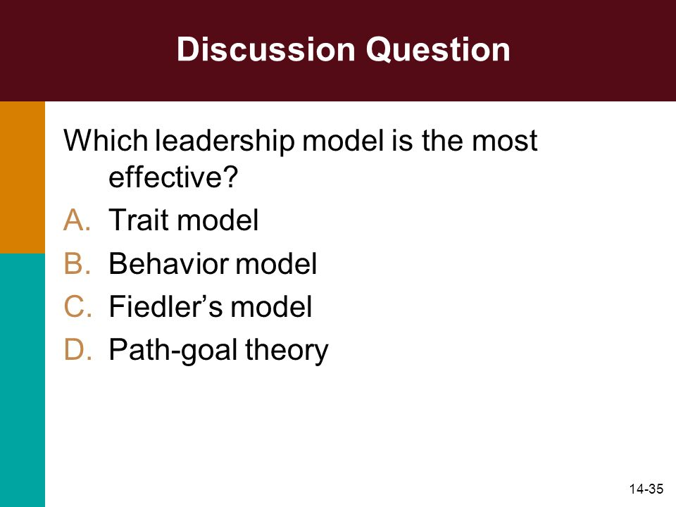 Discussion Question Which leadership model is the most effective