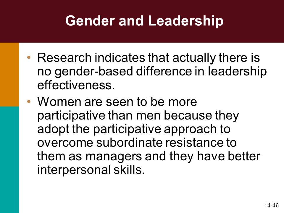 Gender and Leadership Research indicates that actually there is no gender-based difference in leadership effectiveness.