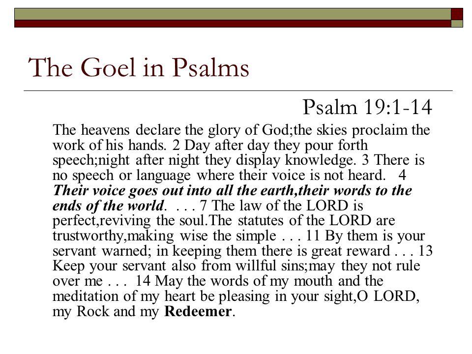 The Goel in Psalms Psalm 19:1-14