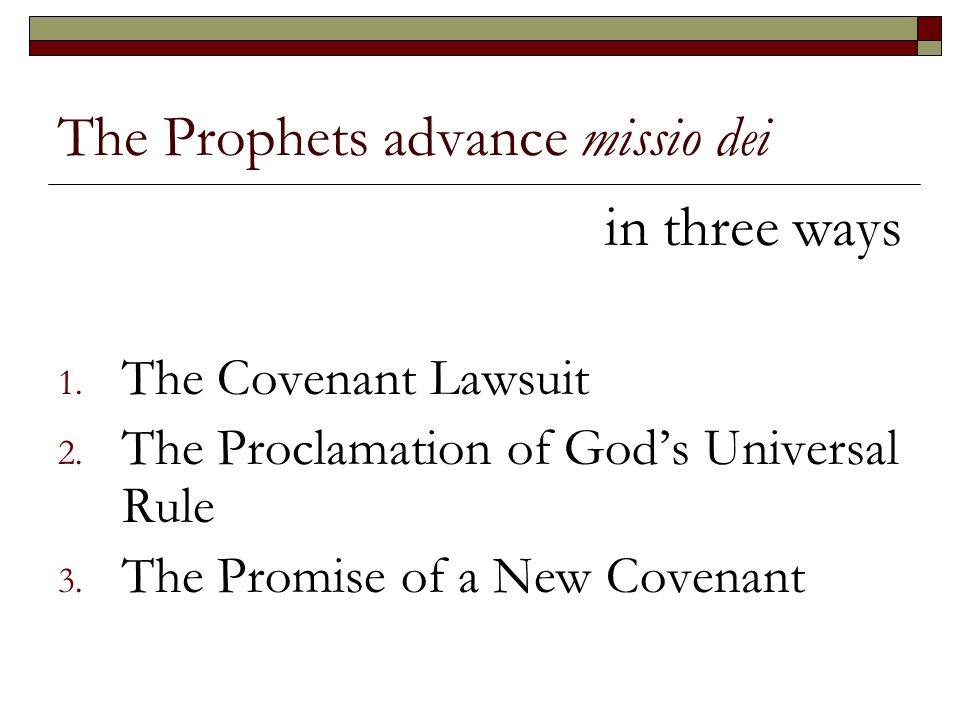 The Prophets advance missio dei