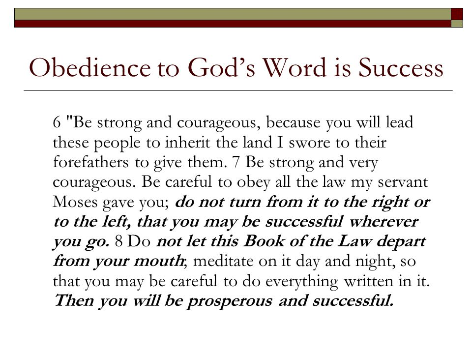 Obedience to God's Word is Success