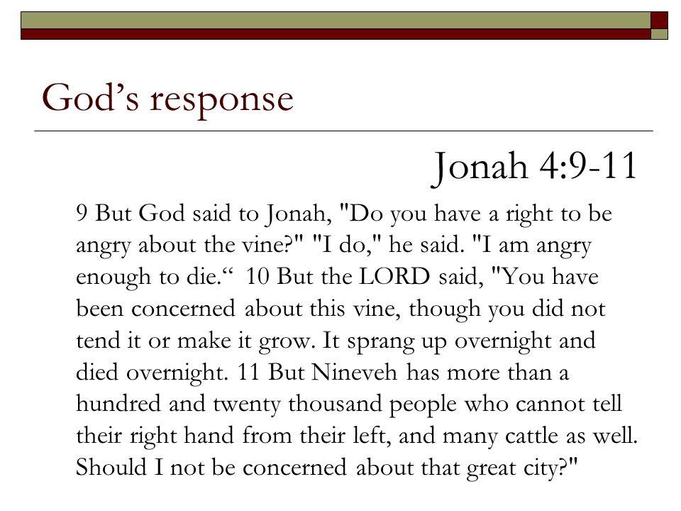 God's response Jonah 4:9-11