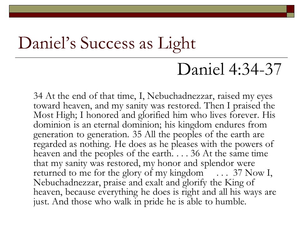 Daniel's Success as Light