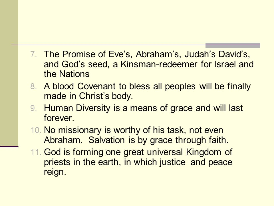 The Promise of Eve's, Abraham's, Judah's David's, and God's seed, a Kinsman-redeemer for Israel and the Nations