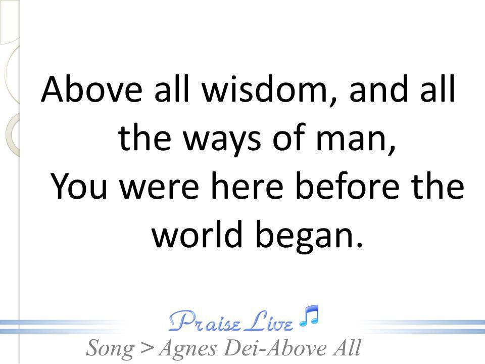 Above all wisdom, and all the ways of man, You were here before the world began.