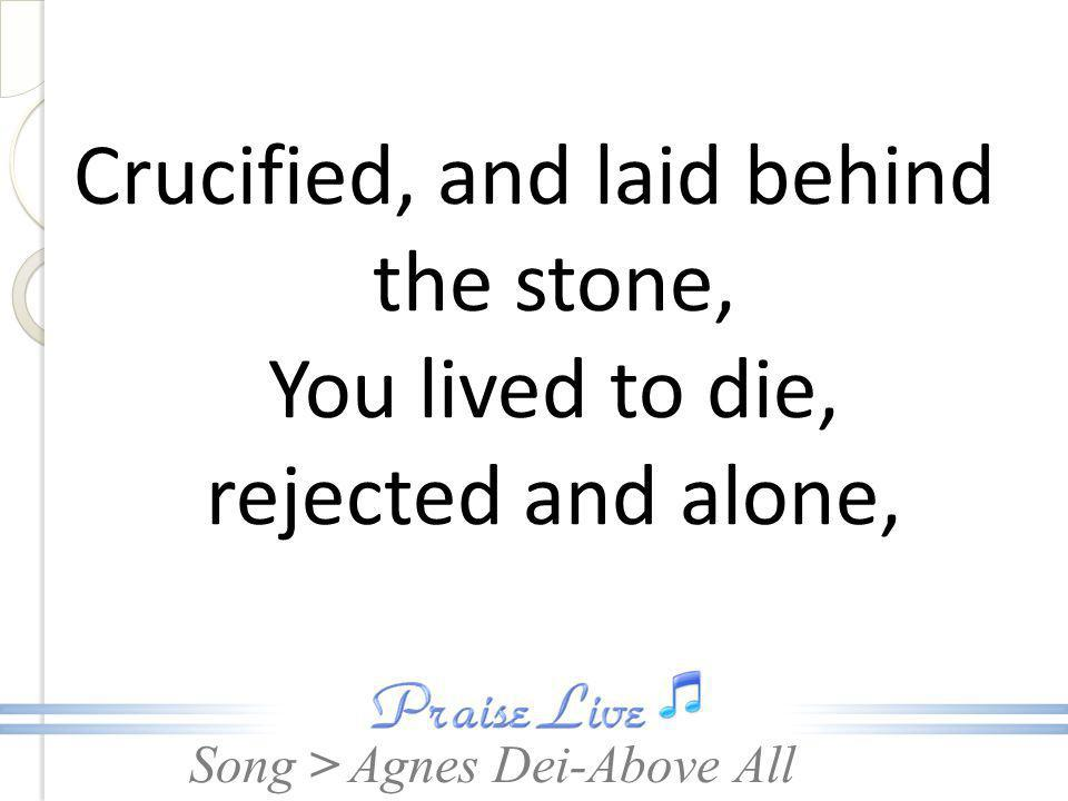 Crucified, and laid behind the stone, You lived to die, rejected and alone,