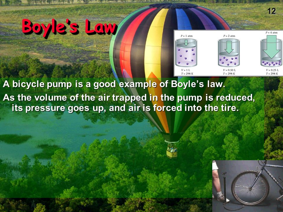 Boyle's Law A bicycle pump is a good example of Boyle's law.