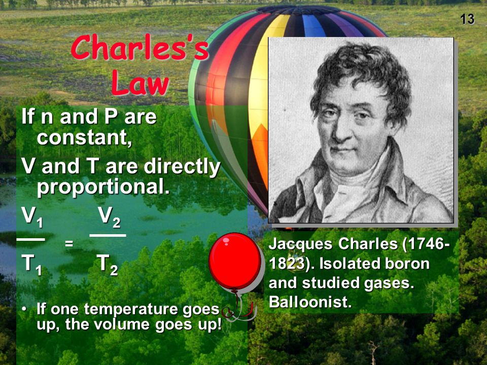 Charles's Law If n and P are constant,