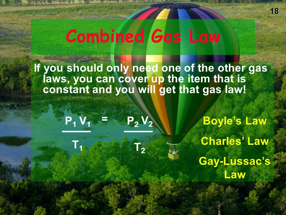 Combined Gas Law If you should only need one of the other gas laws, you can cover up the item that is constant and you will get that gas law!