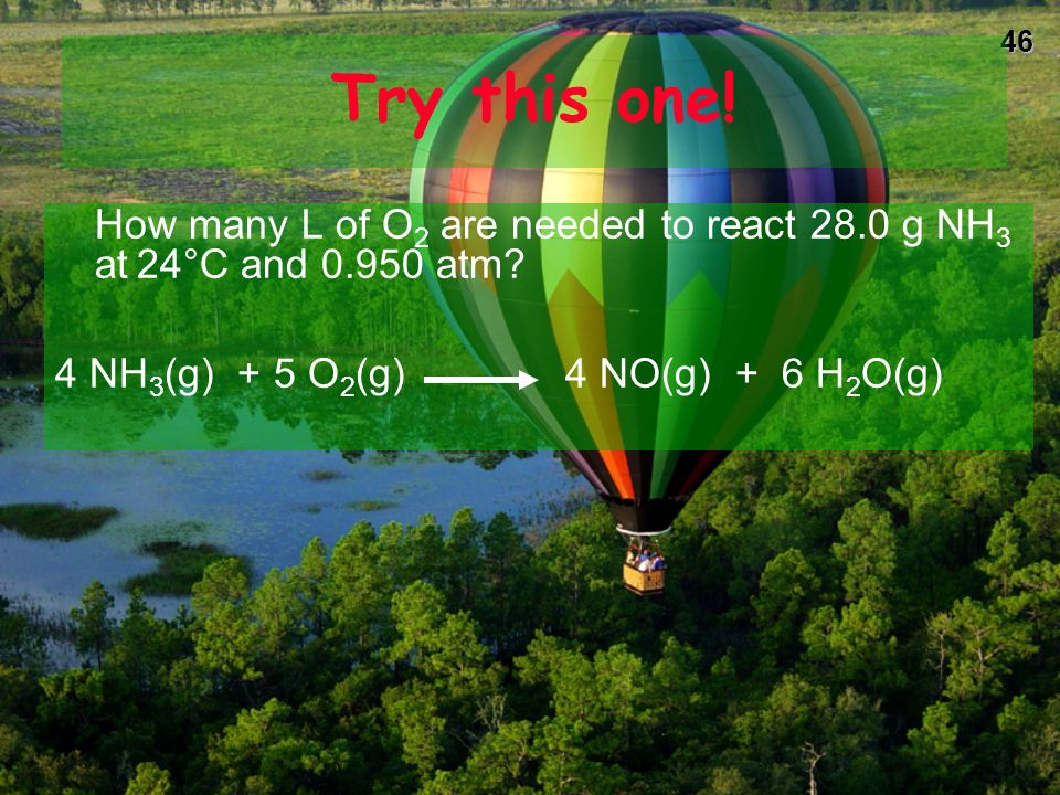 Try this one!How many L of O2 are needed to react 28.0 g NH3 at 24°C and 0.950 atm.