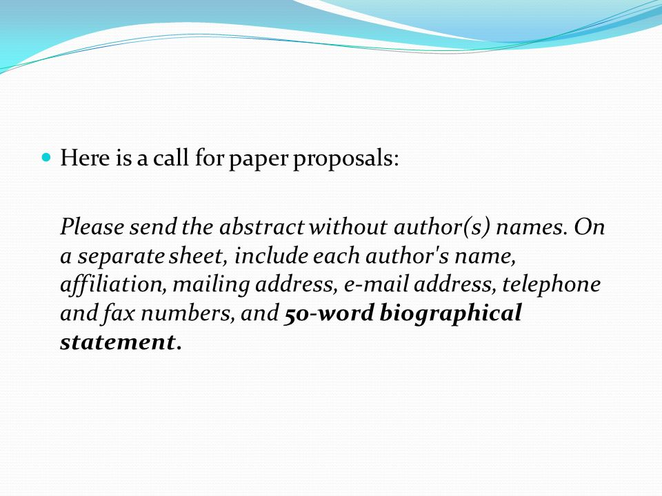 Here is a call for paper proposals: