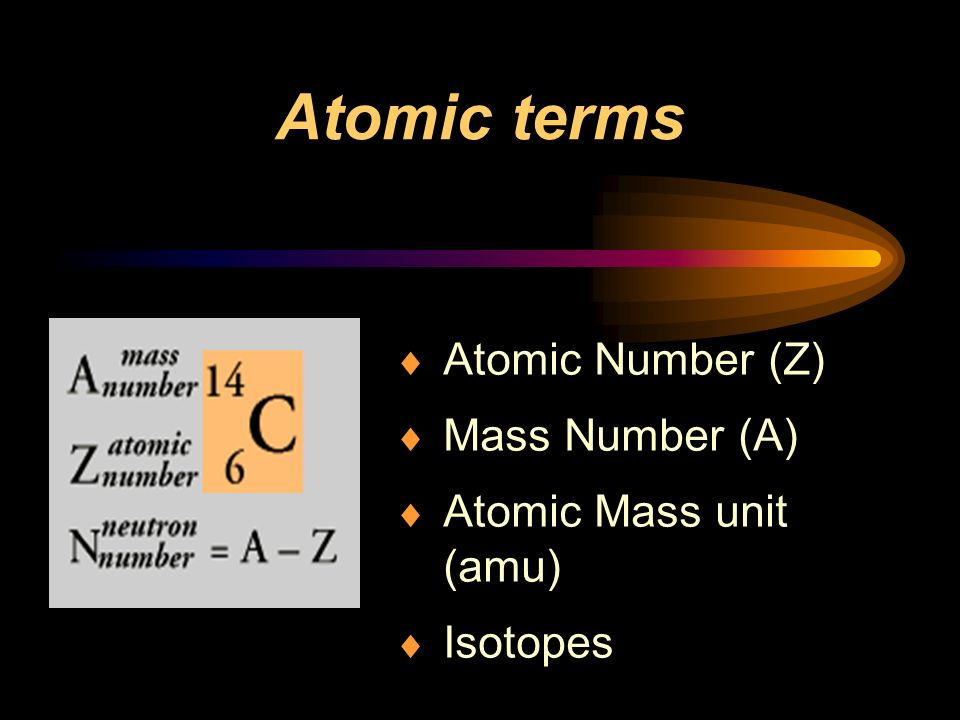 Atomic Number (Z) Mass Number (A) Atomic Mass unit (amu) Isotopes