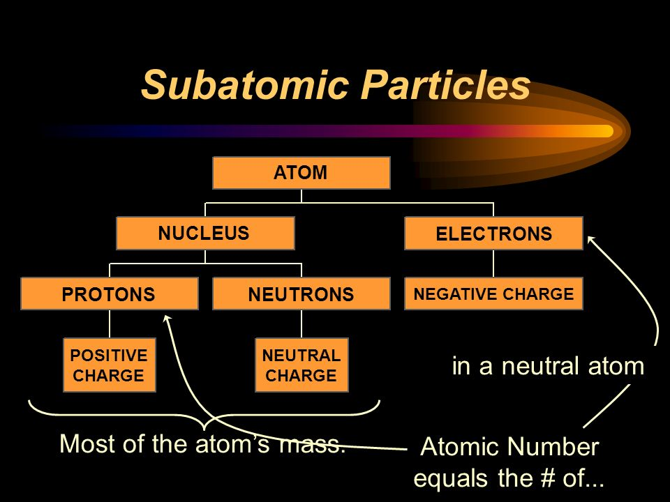 Subatomic Particles in a neutral atom Most of the atom's mass.