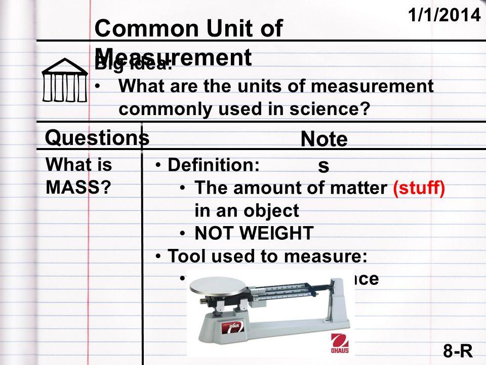 Common Unit of Measurement