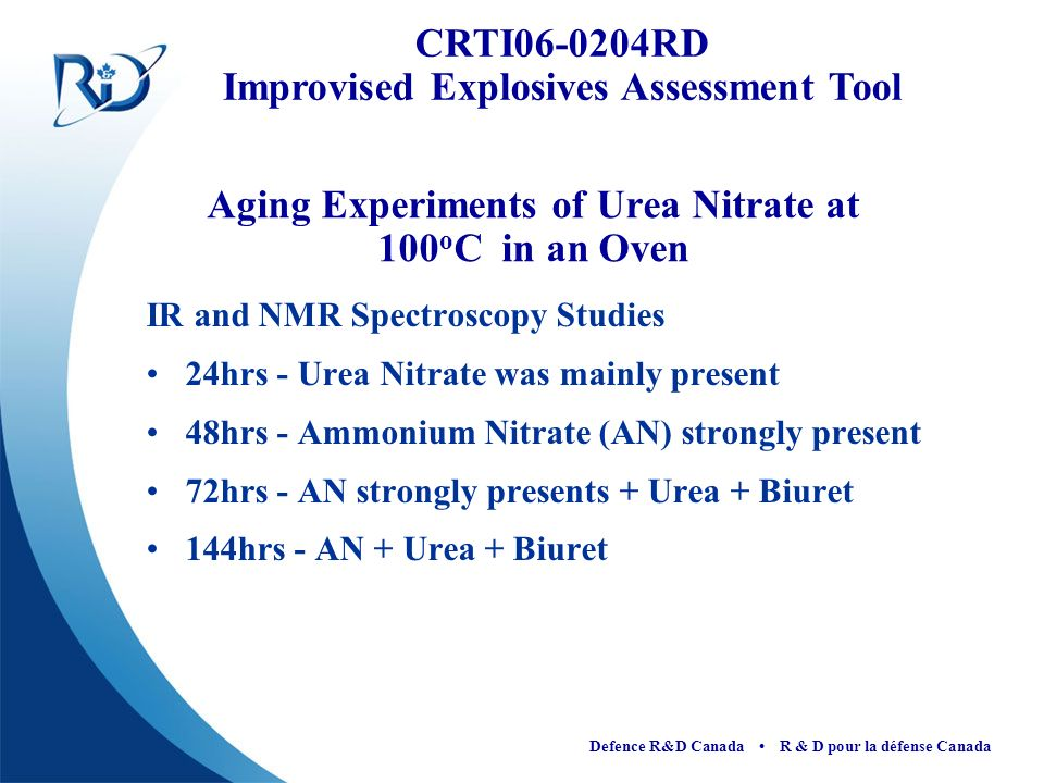 Aging Experiments of Urea Nitrate at 100oC in an Oven
