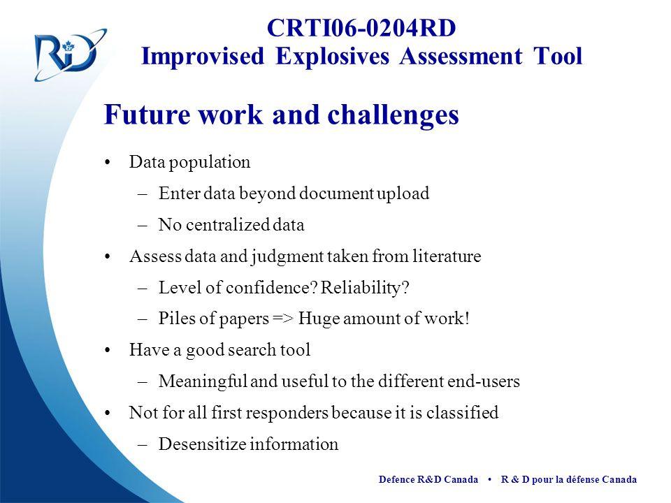 CRTI06-0204RD Improvised Explosives Assessment Tool