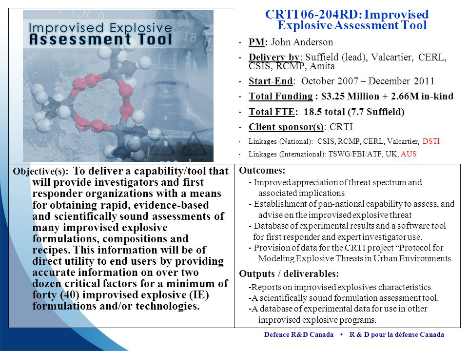CRTI 06-204RD: Improvised Explosive Assessment Tool