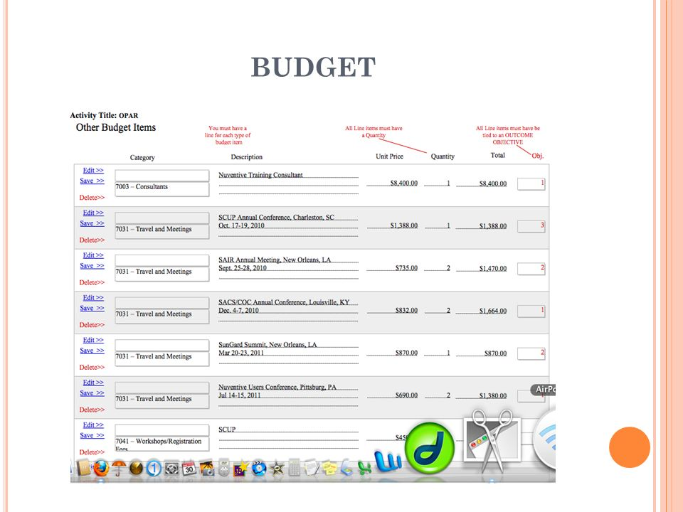 BUDGET Click the Other Budget link on the right side of the screen. This will take you to the Other Budget entry screen.