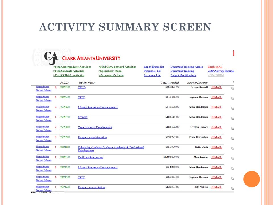 ACTIVITY SUMMARY SCREEN
