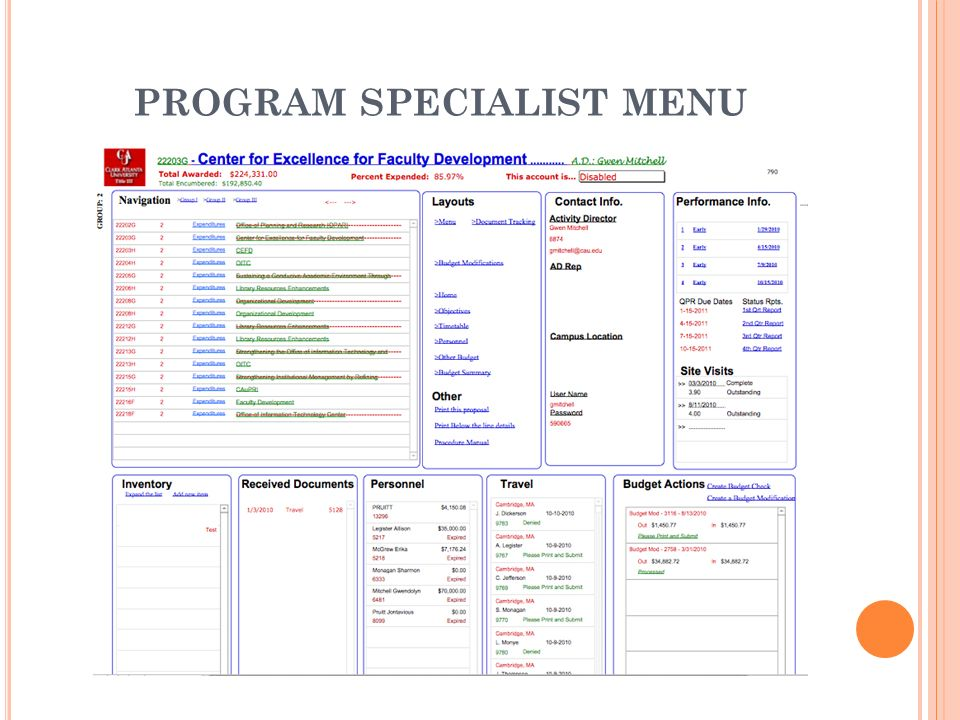 PROGRAM SPECIALIST MENU
