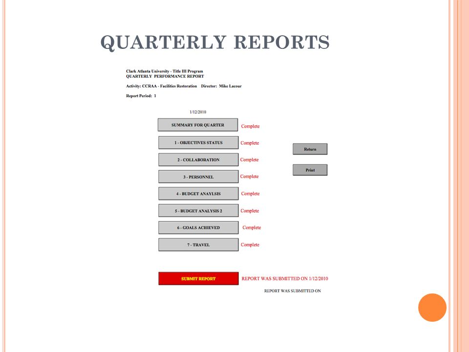 QUARTERLY REPORTS Quarterly Performance Reports can be done in the system.