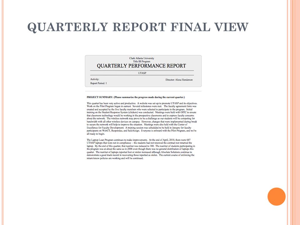 QUARTERLY REPORT FINAL VIEW
