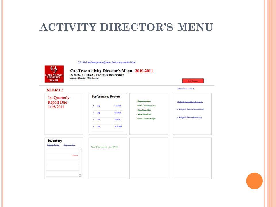 ACTIVITY DIRECTOR'S MENU