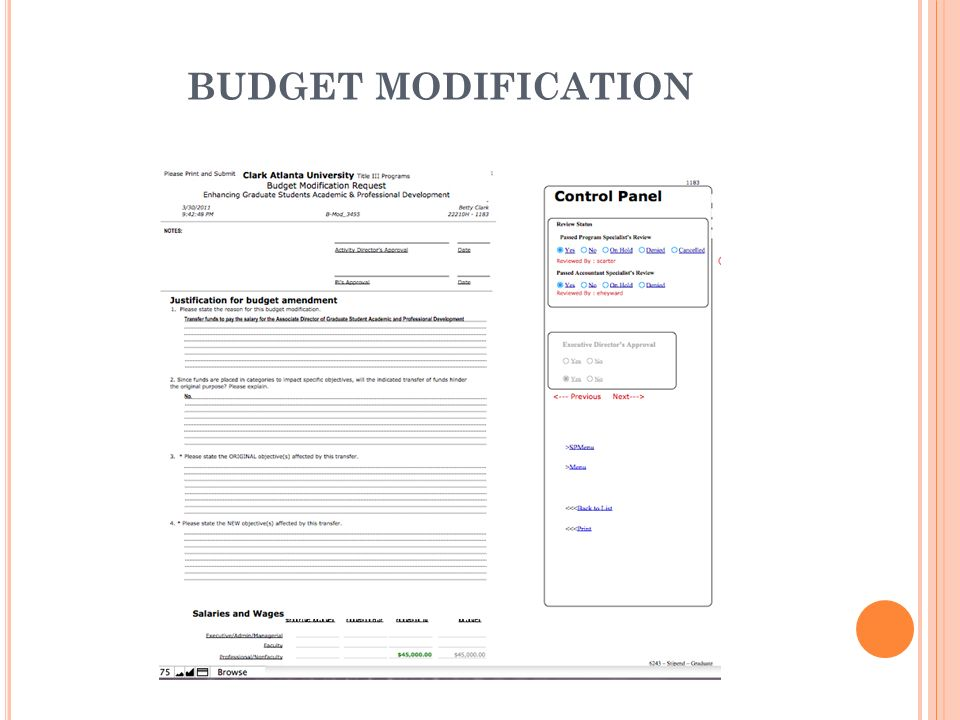 BUDGET MODIFICATION Budget Modification Form