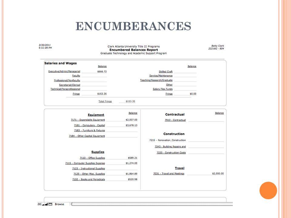 ENCUMBERANCES