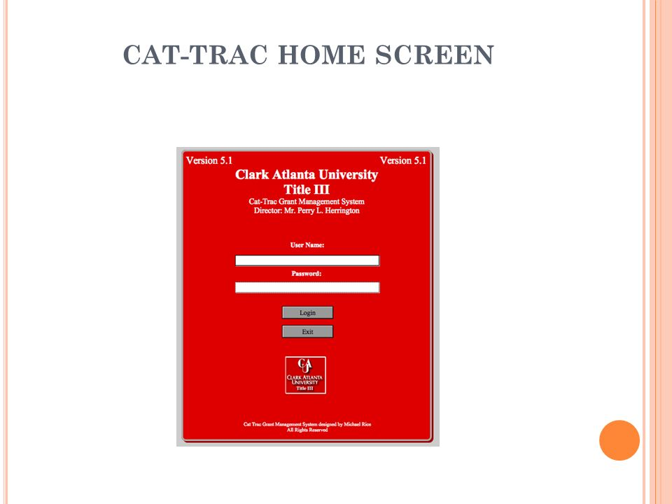CAT-TRAC HOME SCREEN
