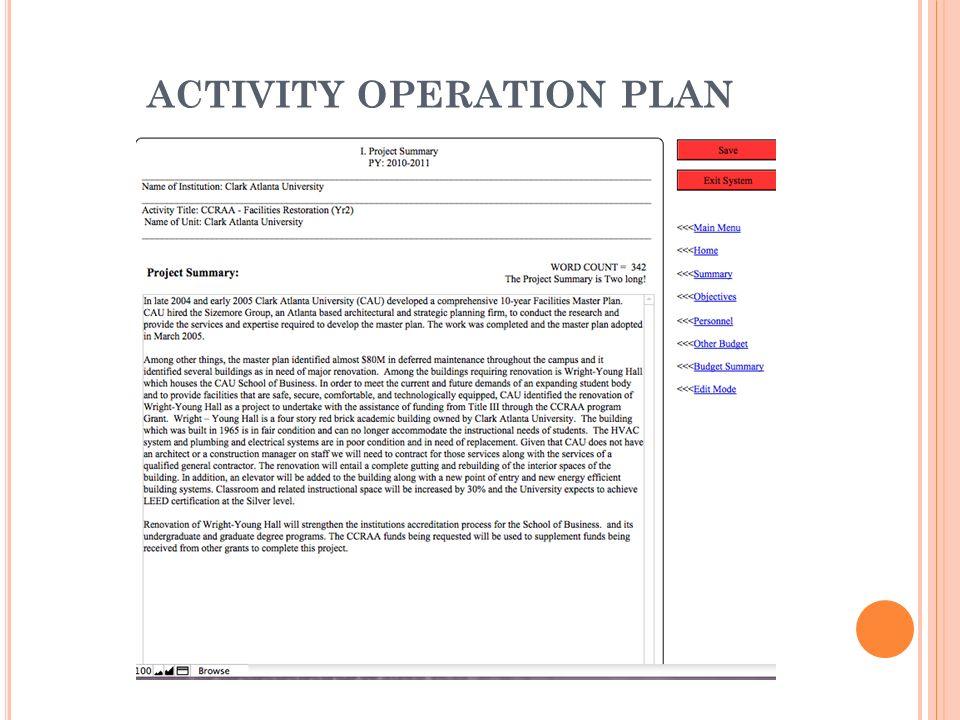 ACTIVITY OPERATION PLAN