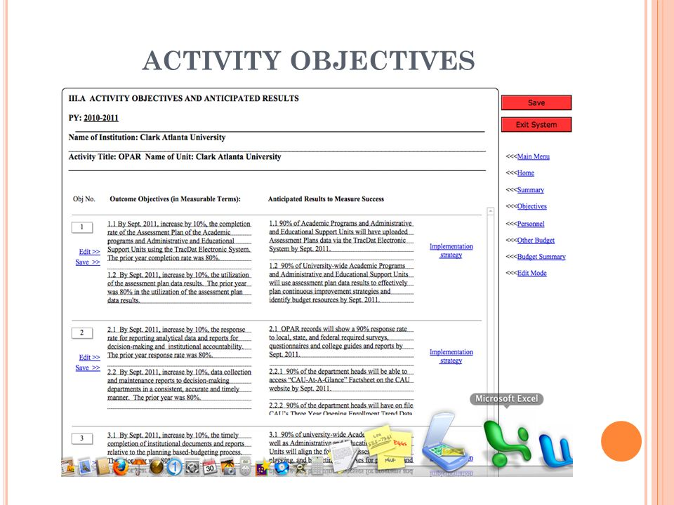 ACTIVITY OBJECTIVES Click the Objectives link on the screen, and this will take you to the Activity Objectives and Anticipated Results screen.