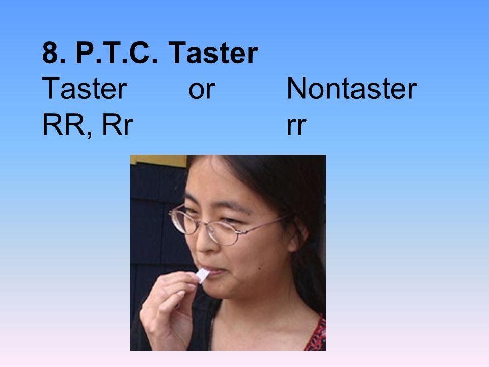 8. P.T.C. Taster Taster or Nontaster RR, Rr rr