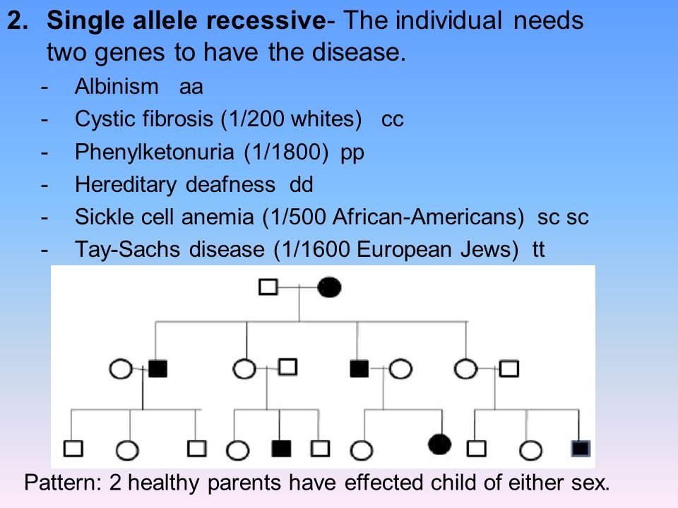 Single allele recessive- The individual needs two genes to have the disease.
