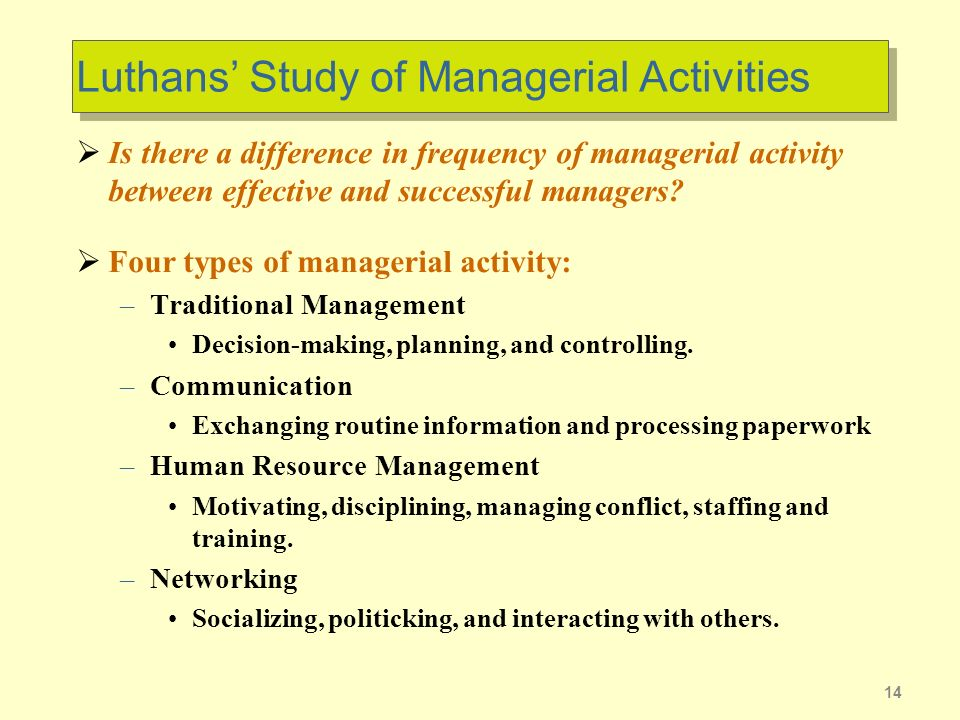 Luthans' Study of Managerial Activities