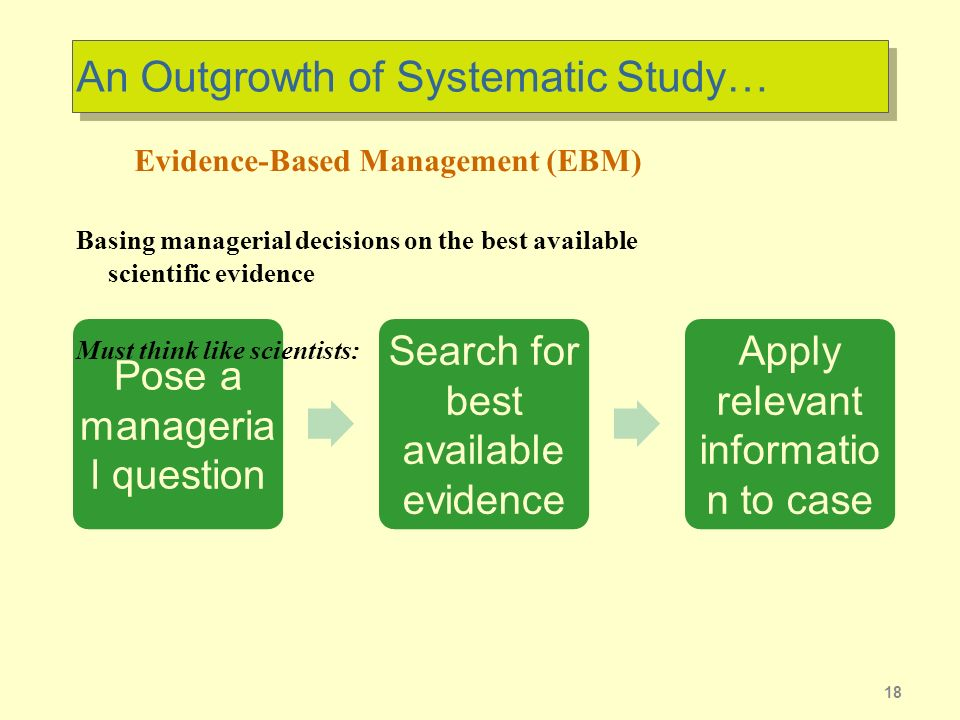 An Outgrowth of Systematic Study…