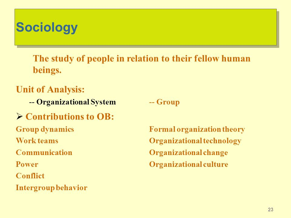 Sociology Unit of Analysis: -- Organizational System. The study of people in relation to their fellow human beings.