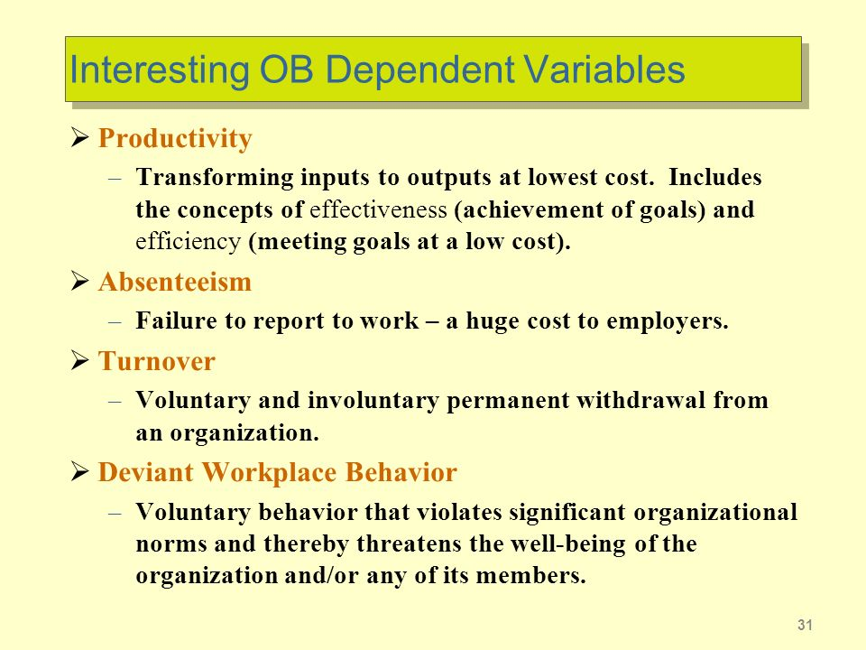 Interesting OB Dependent Variables