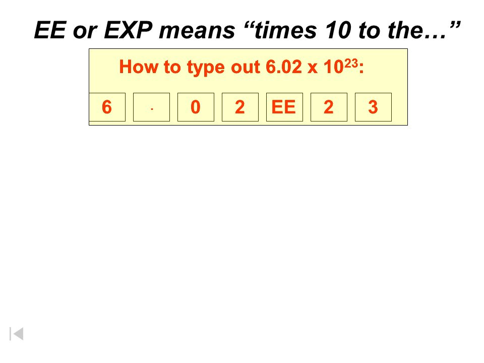 EE or EXP means times 10 to the…