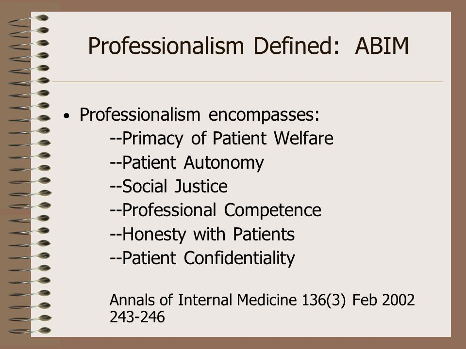 Professionalism Defined: ABIM