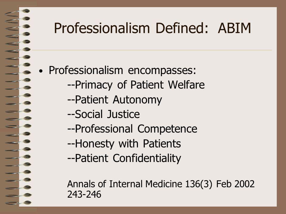Professionalism Defined: ABIM